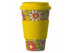 Bamboo Cup ekologický termohrnek 400ml – Daisies yellow