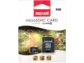 Paměťová karta MAXELL micro SDHC 8GB včetně adaptéru