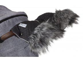 rukavice na kočár DeLuxe černá/stříbrný prošev/šedá  Rukavice