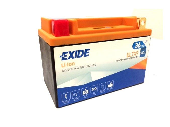 Motobaterie EXIDE BIKE Li-Ion 12V 3Ah 180A ELTX9