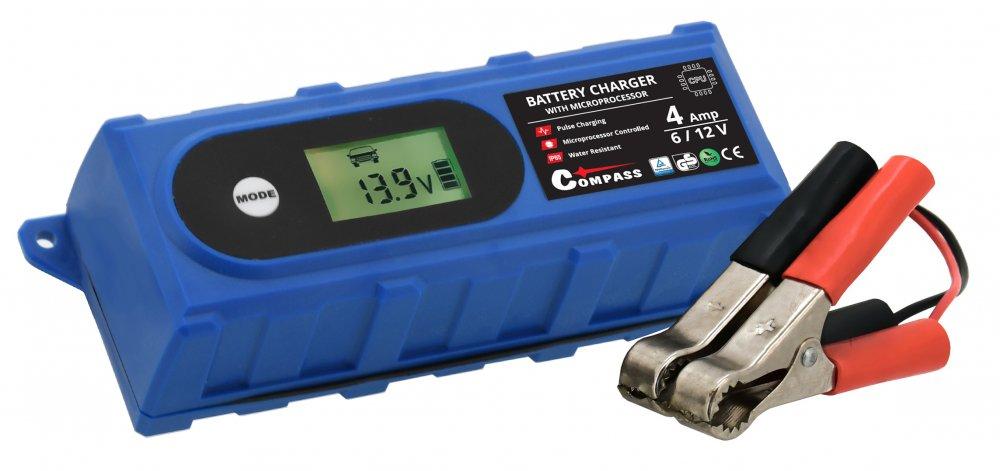 Nabíječka baterií Compass mikroprocesor 3,8Amp 6/12V PB/GEL LCD display
