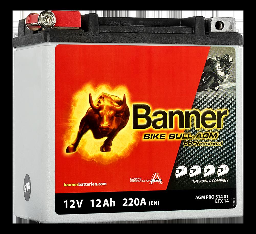 Motobaterie Banner Bike Bull AGM PRO ETX 14, 12Ah, 12V (YTX14-BS)