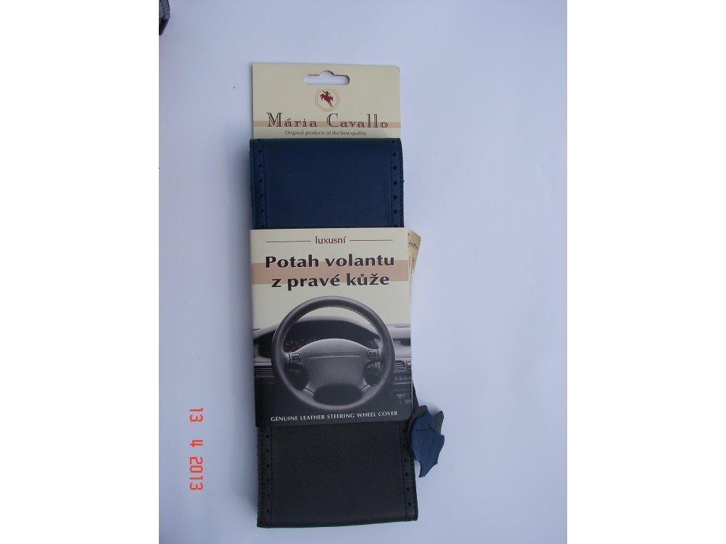 Kožený potah volantu Maria Cavallo - dvojbarevný modročerný