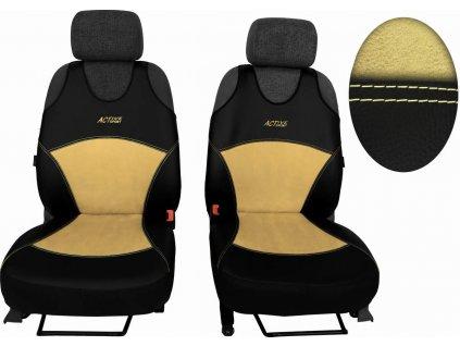 Autopotahy Active Sport kožené s alcantarou, sada pro dvě sedadla, béžové