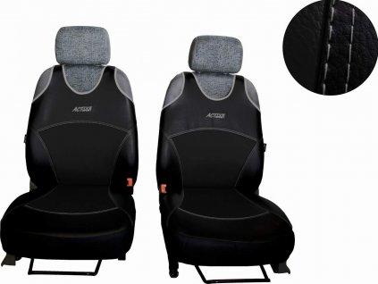 Autopotahy Active Sport kožené, sada pro dvě sedadla, černé