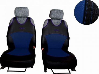 Autopotahy Active Sport kožené, sada pro dvě sedadla, modré