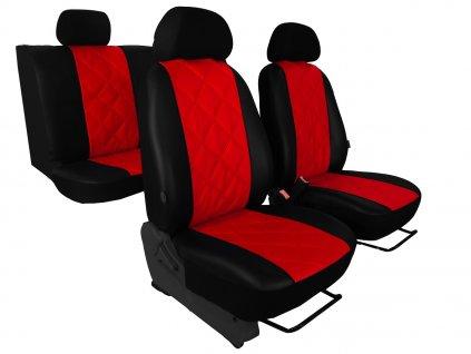 Autopotahy EMBOSSY kožené, kosočtvercový plastický vzor, červené