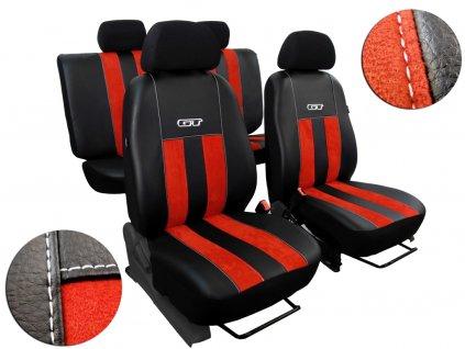 Autopotahy kožené s alcantarou GT cihlově červené