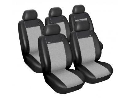Autopotahy Peugeot 308 SW, 5 míst, od r. 2007-2013, Eco kůže + alcantara šedé