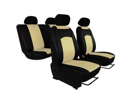 Autopotahy Škoda Fabia I kožené Tuning černobéžové, dělené zadní sedadla, 5 opěrek hlavy