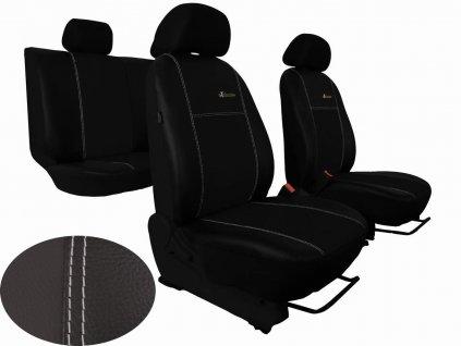 Autopotahy Škoda Fabia II, kožené EXCLUSIVE černé, nedělené zadní sedadla