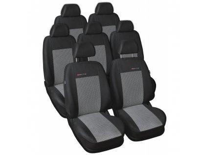 Autopotahy Volkswagen Sharan II, od r. 2010, 7 míst, dětská sedačka, šedo černé
