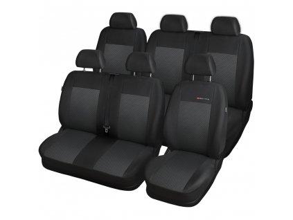 Autopotahy Volkswagen T4, 6 míst, 1+2,2+1, od r. 1990-2003, černé