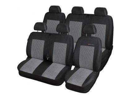 Autopotahy Volkswagen T5, 6 míst, 1+2+3 od r. 2003, šedo černé
