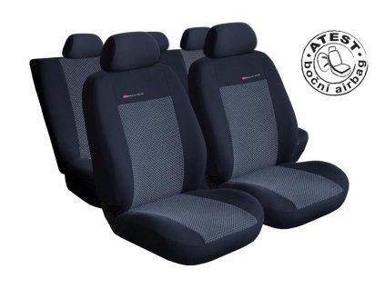 Autopotahy VW Golf VI, dělené zad. opěradlo a sedadlo, zad. lok. op.,od r.2008, šedo černé