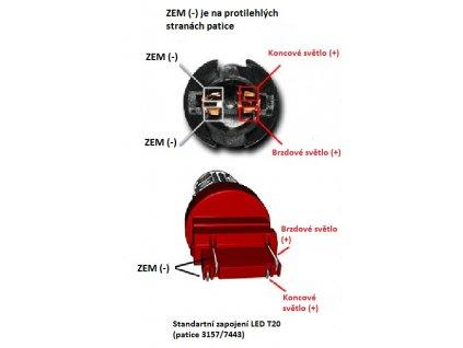 CREE LED T20 (7443) červená, 10-30V 12SMD Samsung + 3W Osram