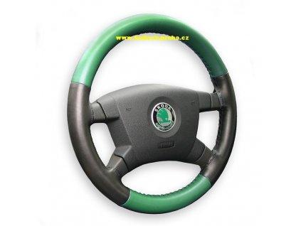 Kožený potah volantu Maria Cavallo - dvojbarevný zelenočerný (světlá zelená)