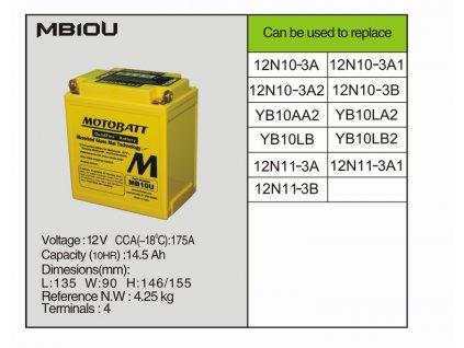 MotoBatt MB10U - 14,5 AH 175 A 12V - Baterie přednabitá
