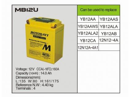 MotoBatt MB12U 15 AH 12V 160A- Baterie přednabitá
