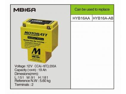 MotoBatt MB16A -17,5 AH 200A 12V - Baterie přednabitá