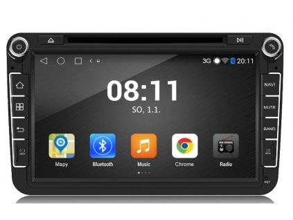 "Autorádio pro VW, Škoda s 8"" LCD, Android 4.4.4, WI-FI, GPS, BT, DVD"