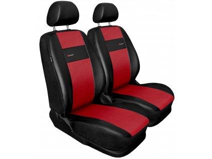 Autopotahy X-LINE kožené, sada pro dvě sedadla, červené