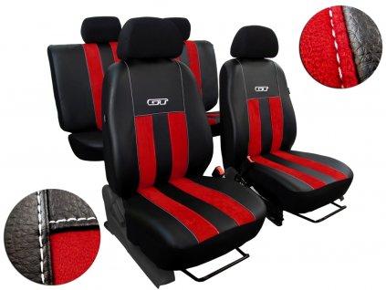 Autopotahy CITROEN JUMPER II, 3 místa, stolek, GT kožené s alcantarou, červené
