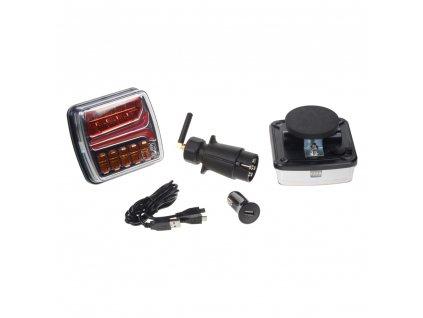 2x sdružená aku lampa zadní LED s bezdrátovým připojením k 7pin zástrčce, ECE R10