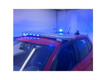 LED rampa 1442mm, modrá/červená + 2x LED maják
