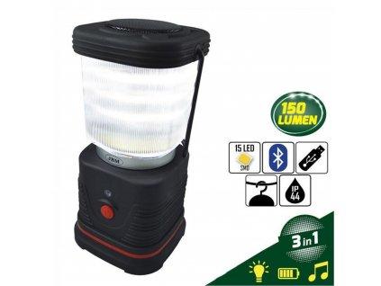 Led svítilna s reproduktorem blluetooth a nabíječkou a POWERBANKOU USB