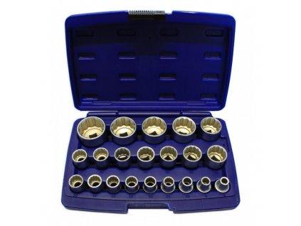 Nástrčné hlavice, gola ořechy 8-36mm 1/2' CR-V,sada21ks 12-hranných hlavic Asta