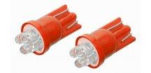 Žárovka 4LED 12V T10 červená 2 ks