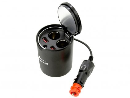 Rozdvojka 12/24V do držáku nápojů • 2x USB