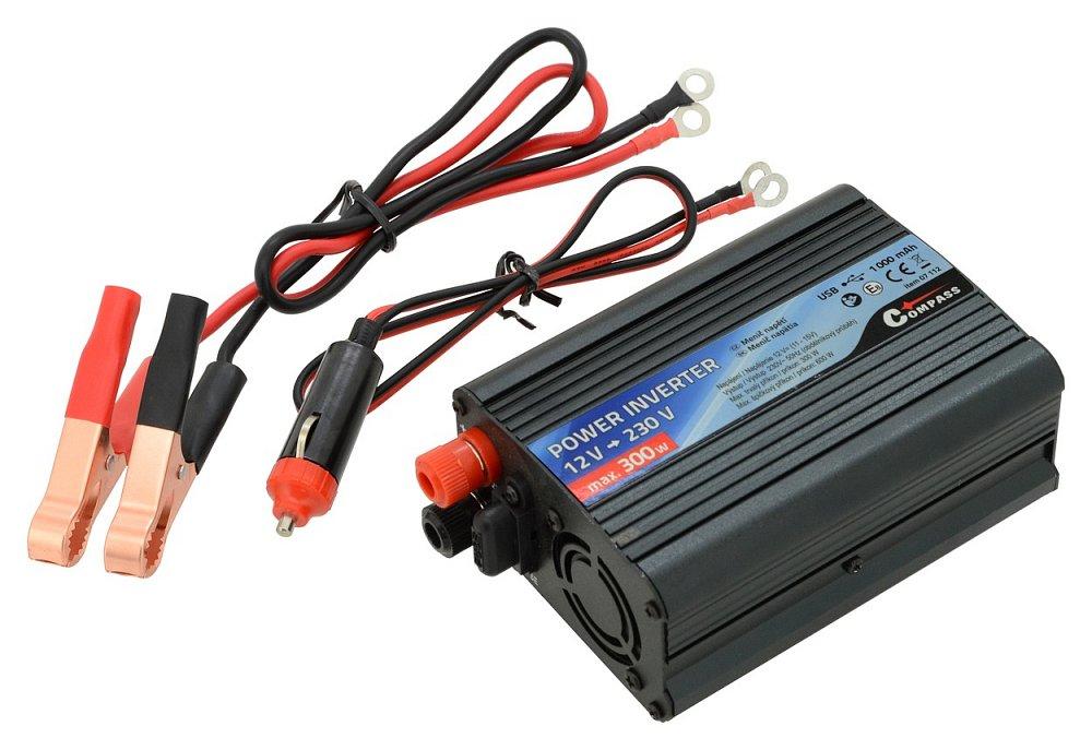 Měnič napětí 12/230V 300W USB