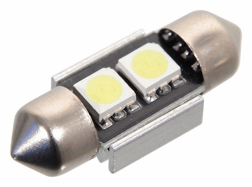 Compass • Žárovka 2 SMD LED 12V sufitka SV8.5 s rezistorem CAN-BUS ready bílá