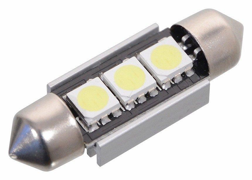 Compass • Žárovka 3 SMD LED 12V sufitka SV8.5 s rezistorem CAN-BUS ready bílá