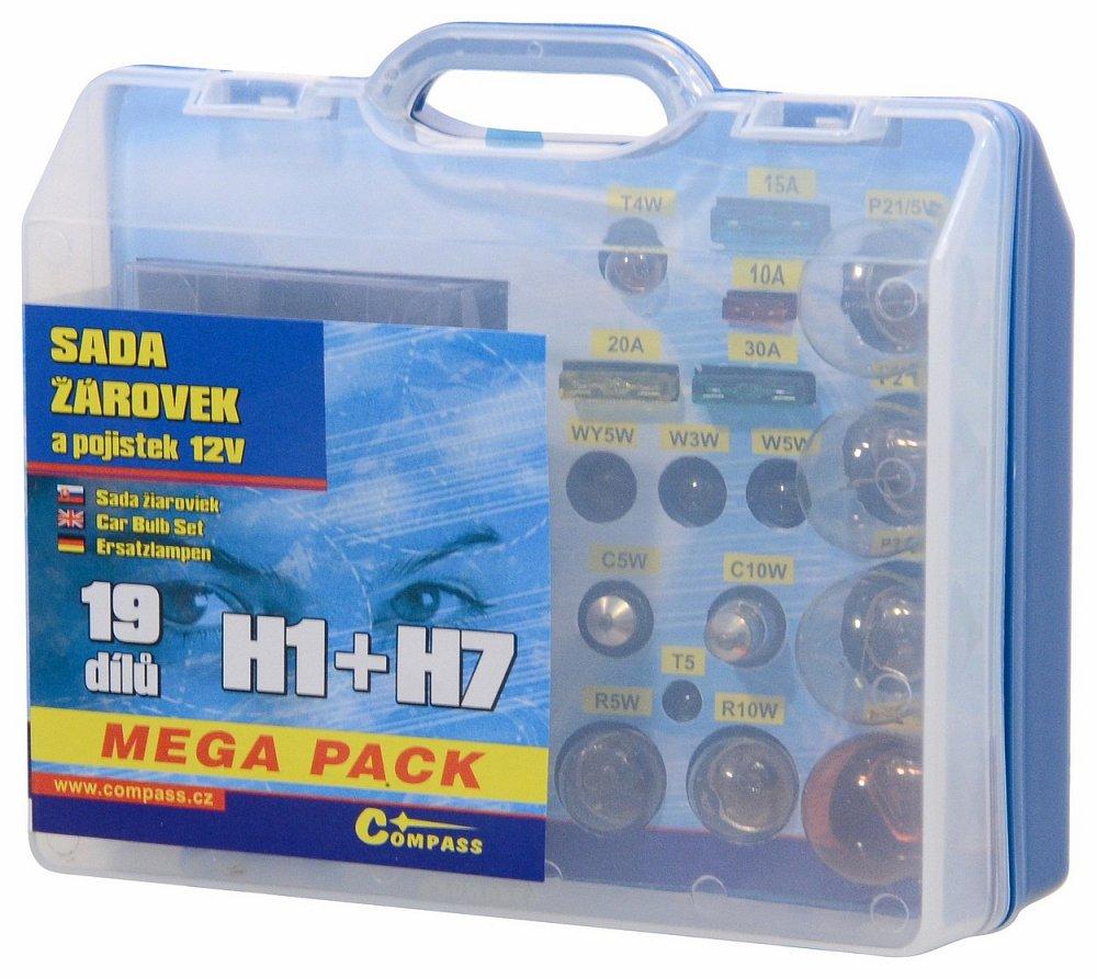 Compass • Žárovky 12V servisní box MEGA H1+H7+pojistky
