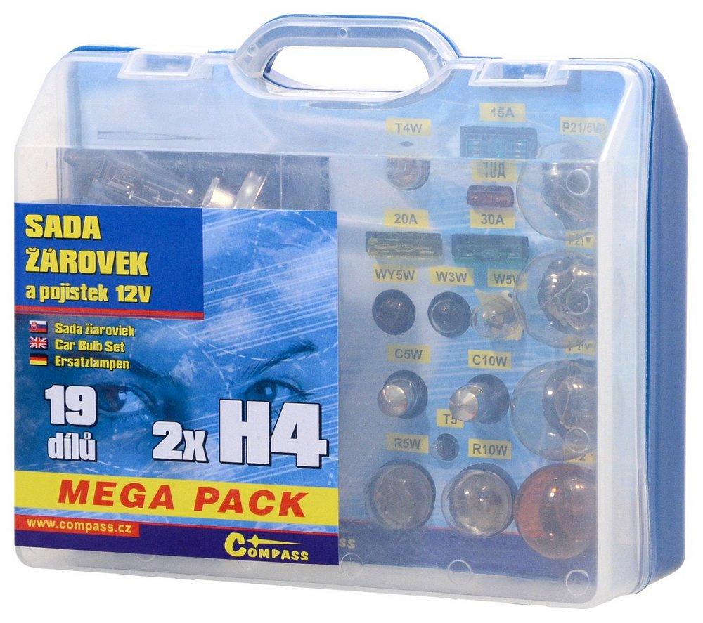 Compass • Žárovky 12V servisní box MEGA H4+H4+pojistky