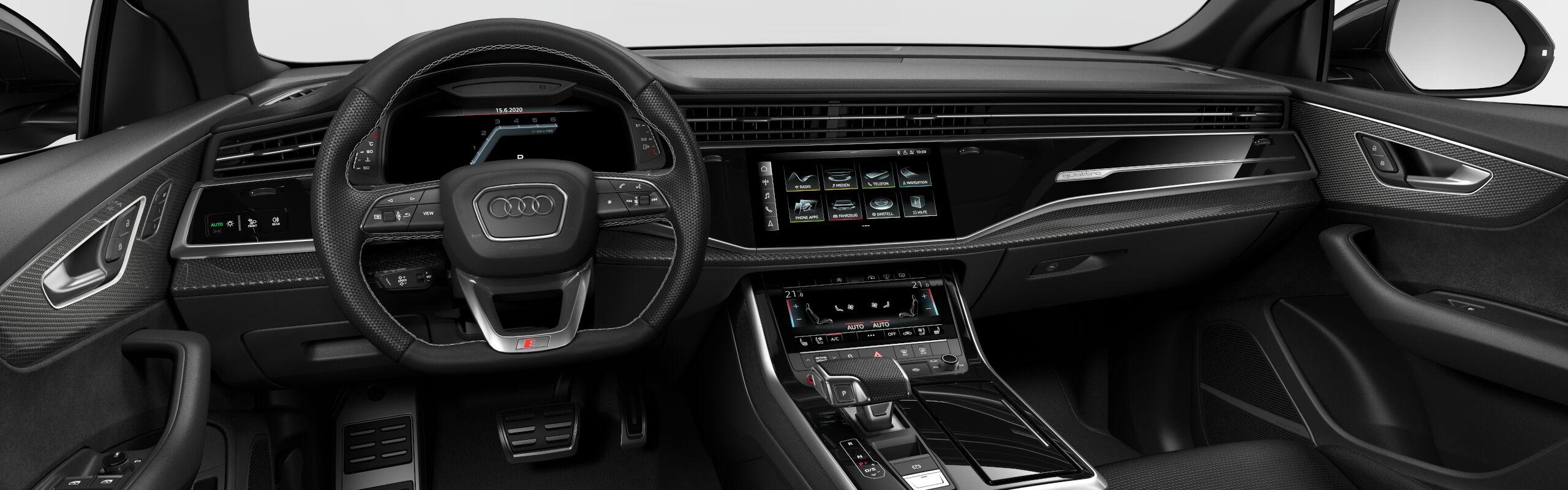 Audi SQ8 TDI | nové auto skladem | černo-černé sportovní SUV coupé | nafta V8 biturbo 435 koní | skvělá výbava | nákup online | akční cena 2.619.000,- Kč bez DPH