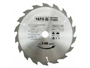 Kotouč na dřevo 185 x 20 mm 18z Yato YT-6063