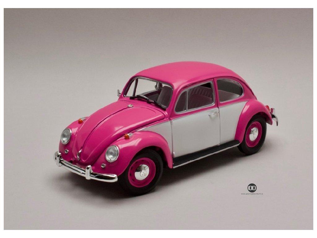Volksvagen Beetle 1967 pravostranné řízení růžová bílá 1 18 Greenlight 13512 01