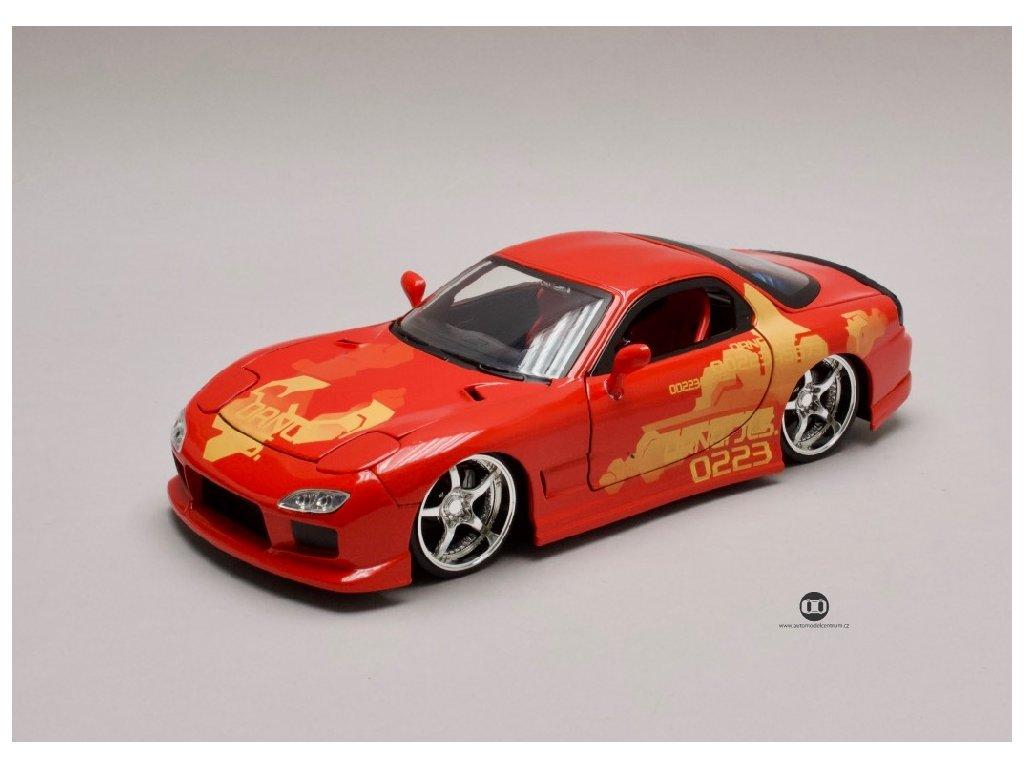 Mazda RX 7 1995 Orange JLS Rychle a zb. (Fast & Furious) 1 24 Jada Toys 30747 01