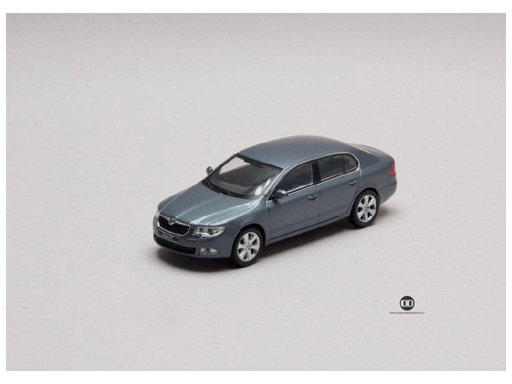Škoda Superb II 2008 šedá Steel metalíza 1 43 Abrex 143AB 010CJ 01