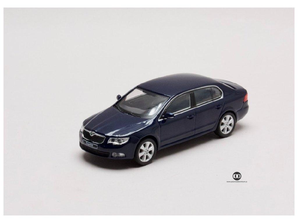 Škoda Superb II 2008 modrá Storm met 1 43 Abrex 143AB 010KC 01