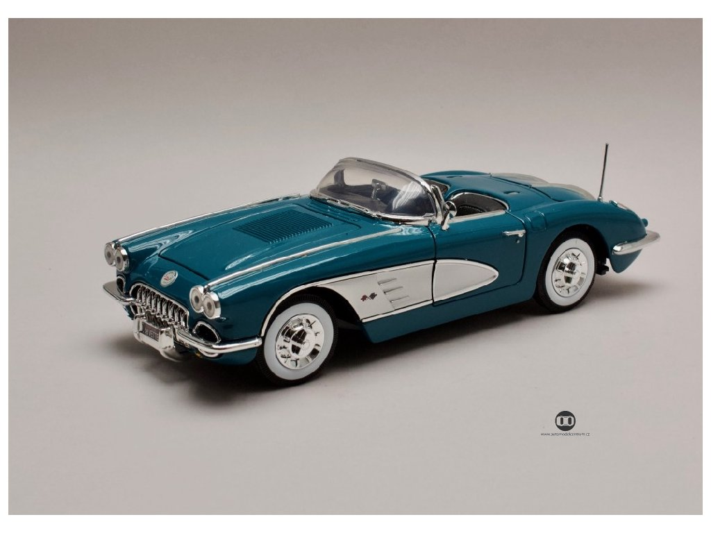 Chevrolet Corvette 1958 modro stříbrná 1 18 Motor Max 73109 01