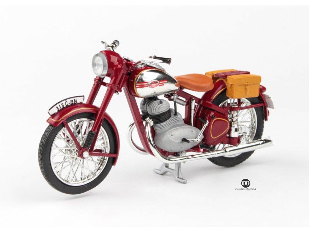 Jawa 350 Pérák 1950 s brašnama tmavě červená 1 18 Abrex 100118M 008 1 01
