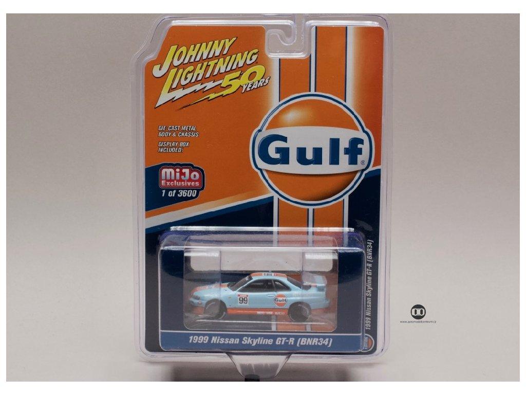 Nissan Skyline GT R #99 (BNR34) 1999 Gulf 1 64 Johnny Lichtning JLCP 7237 01