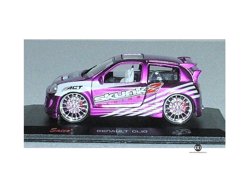 Renault Clio - tuning SKUNK 2 fialovobílá 1:32 Saico