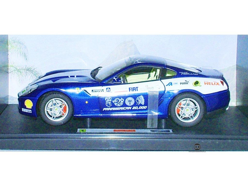 Ferrari 599 GTB Fiorano Panamerican - ELITE modrá 1:18 Hot Wheels