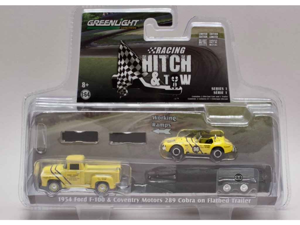 Ford F 100 1954 & Coventry Motors 289 Cobra on Flatbed Trailer 1 64 Grenlight 31050 A